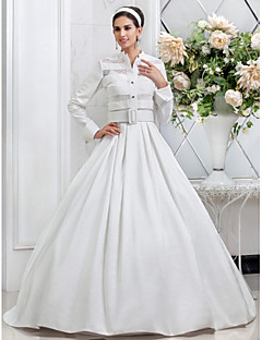 Lanting A-line/Princess Plus Sizes Wedding Dress - Ivory Floor-length Spaghetti Straps Taffeta
