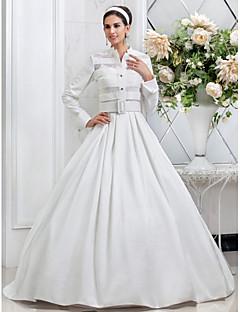 웨딩 드레스 - 아이보리(색상은 모니터에 따라 다를 수 있음) A 라인/프린세스 바닥 길이 스파게티 스트랩 태피터 플러스 사이즈