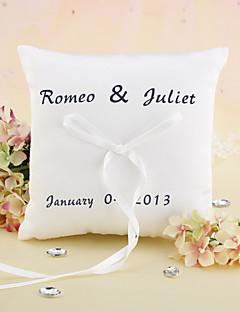 Gepersonaliseerde Elegant Wedding Ring Kussen met lint