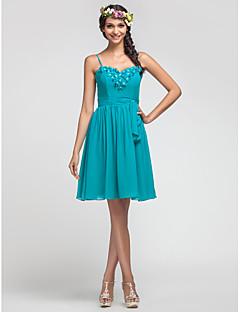 Knee-length Chiffon Bridesmaid Dress - Jade Plus Sizes A-line/Princess Sweetheart/Spaghetti Straps