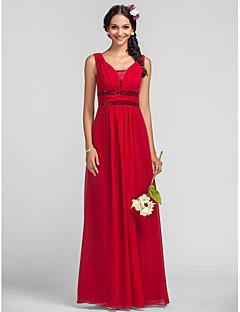 Lanting Bride® Floor-length Chiffon / Sequined Bridesmaid Dress - Sheath / Column Straps Plus Size / Petite withSash / Ribbon / Side