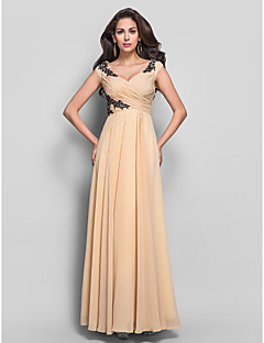 Kappe / Kolonne V-hals - Formell Aften/Militærball Dress - Champagne Gulvlengde Chiffon Plus Sizes