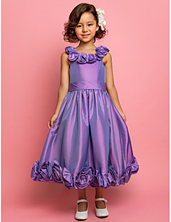 LAN TING BRIDE A-line Princess Tea-length Flower Girl Dress - Taffeta Scoop Spaghetti Straps with Flower(s) Sash / Ribbon