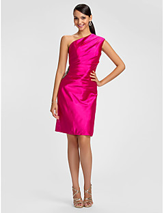 Dress - Fuchsia Plus Sizes / Petite Sheath/Column One Shoulder Knee-length Stretch Satin