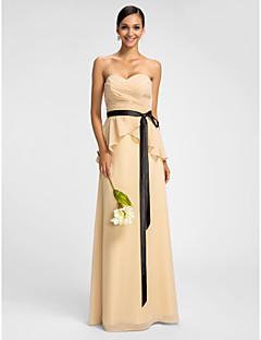 Dress - Champagne Sheath/Column Sweetheart Floor-length Chiffon