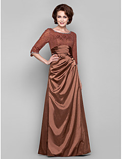 Lanting Dress - Brown Plus Sizes / Petite Sheath/Column Bateau Floor-length Lace / Charmeuse