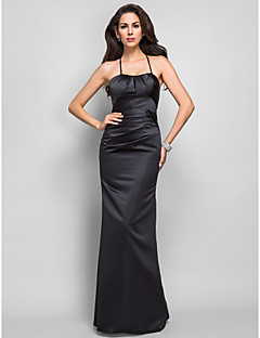 Formal Evening/Military Ball Dress - Black Plus Sizes Trumpet/Mermaid Spaghetti Straps Floor-length Satin