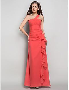 저녁 정장파티/프롬/밀리터리 볼 드레스 - 워터멜론 시스/컬럼 바닥 길이 원 숄더 쉬폰 플러스 사이즈
