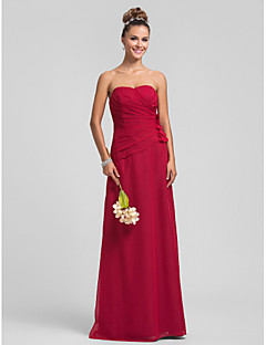 Lanting Bride® Floor-length Chiffon Bridesmaid Dress Sheath / Column Sweetheart Plus Size / Petite with Flower(s) / Criss Cross