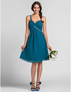 Lanting Bride® Mi-long Mousseline de soie Robe de Demoiselle d'Honneur - Trapèze / Princesse Une Epaule Grande Taille / Petite avec