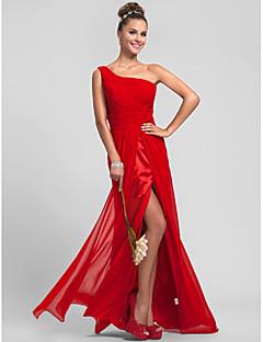 Floor-length Chiffon Bridesmaid Dress - Ruby Plus Sizes / Petite Sheath/Column One Shoulder