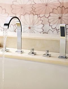 コンテンポラリー ローマンバスタブ 組み合わせ式 ハンドシャワーは含まれている with  セラミックバルブ 五つ 3つのハンドル5つの穴 for  クロム , 浴槽用水栓