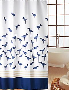 Continental Blue Birds Pattern Waterproof dicke Polyester Duschvorhang
