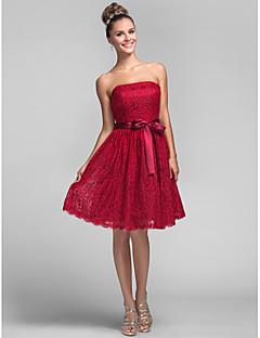 동창회 들러리 드레스 무릎 길이 라인 공주 strapless 드레스 레이스