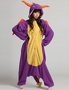 Kigurumi Pajamas Dinosaur Leotard/Onesie Halloween Animal Sleepwear Purple Patchwork Coral fleece Kigurumi Unisex Halloween
