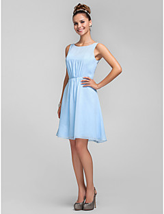 Lanting Bride® Knee-length Chiffon Bridesmaid Dress A-line / Princess Bateau Plus Size / Petite with Bow(s) / Side Draping