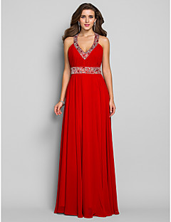 TS Couture Formal Evening / Military Ball / Prom Dress - Ruby Plus Sizes / Petite Sheath/Column V-neck Floor-length Chiffon