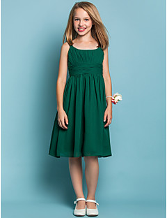 Knee-length Chiffon Junior Bridesmaid Dress - Dark Green Sheath/Column Scoop/Straps