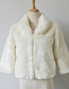 3/4 Sleeve Turndown Collar Faux Fur Casual/Party Jacket