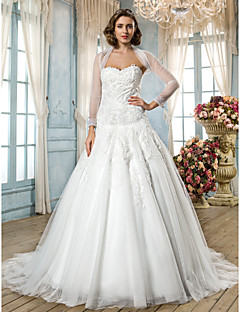 Lan Ting A-line/Princess Plus Sizes Wedding Dress - Ivory Sweep/Brush Train Sweetheart Tulle/Lace