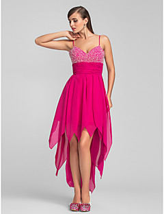 TS Couture® Cocktail Party / Prom Dress - High Low Plus Size / Petite A-line Spaghetti Straps Asymmetrical Chiffon with Beading / Ruching