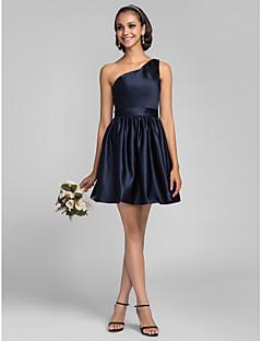 Brautjungfernkleid - Dunkelmarine Satin - A-Linie/Princess-Stil - mini - 1-Schulter Übergröße