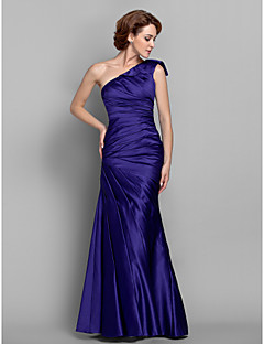 Trumpet / Mermaid Plus Size / Petite Mother of the Bride Dress Floor-length Sleeveless Satin with Side Draping