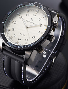 V6 男性 スポーツウォッチ 軍用腕時計 ファッションウォッチ リストウォッチ 大きめ文字盤 クォーツ 日本産クォーツ シリコーン バンド クール ブラック