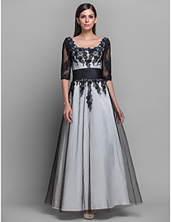 저녁 정장파티/밀리터리 볼 드레스 - 아이보리 A라인/프린세스 바닥 길이 스쿱 사틴 플러스 사이즈