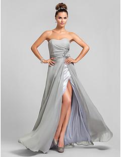 Brautjungfernkleid - Silber Chiffon - Etui-Linie - bodenlang - Herz-Ausschnitt Übergröße