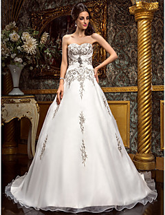 A-line Plus Sizes Wedding Dress - Ivory Court Train Sweetheart Chiffon
