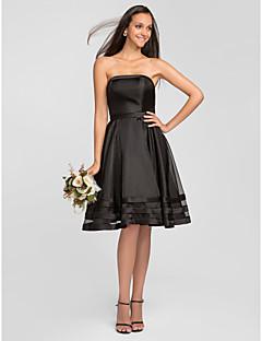 Robe de Demoiselle d'Honneur - Noir A-line Sans bretelles Longueur genou Organza Grandes tailles