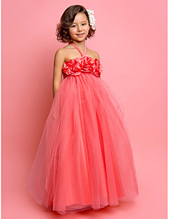 LAN TING BRIDE First Communion Wedding Party Dress A-line Princess Halter Floor-length Tulle with Flower(s)