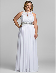 TS Couture Plus Size Prom Formal Evening Dress - Celebrity Style Sheath / Column High Neck Floor-length Chiffon with Crystal