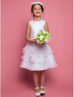 Blumenmädchen Kleid - Organza - Etui-Linie - wadenlang - Ärmellos