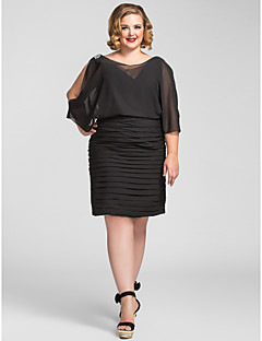 Cocktail Party / Holiday Dress - Elegant Plus Size / Petite Sheath / Column V-neck Knee-length Chiffon with Beading / Ruching