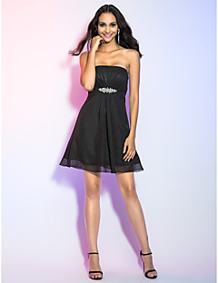 TS Couture® Cocktail Party / Holiday Dress - Black Plus Sizes / Petite A-line / Princess Strapless Short/Mini Chiffon