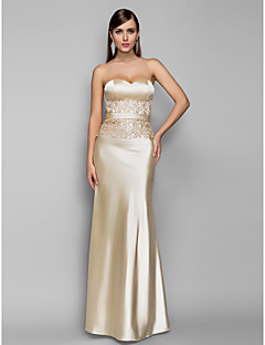 Formal Evening/Military Ball Dress - Champagne Plus Sizes Trumpet/Mermaid Sweetheart Floor-length Stretch Satin
