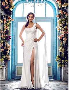 LAN TING BRIDE Sheath / Column Wedding Dress - Classic & Timeless Glamorous & Dramatic Simply Sublime Sweep / Brush Train One Shoulder