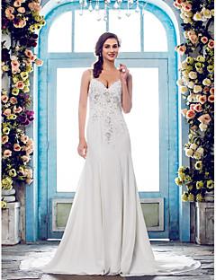 LAN TING BRIDE Trumpet / Mermaid Wedding Dress - Classic & Timeless Elegant & Luxurious See-Through Court Train Spaghetti StrapsChiffon