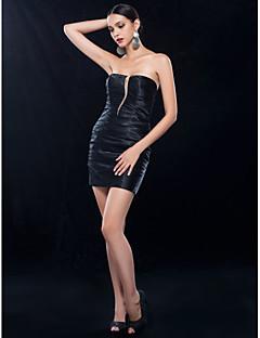 נדן / שמלת סטרפלס טור קצרה / מיני charmeuse קוקטייל (466,872)