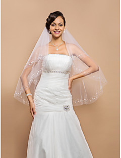 Wedding Veil Two-tier Fingertip Veils Beaded Edge 25.59 in (65cm) Tulle White IvoryA-line, Ball Gown, Princess, Sheath/ Column, Trumpet/