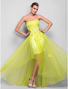 TS Couture Promo Soirée Formel Bal Militaire Robe - Années 20 Trapèze Princesse Sans Bretelles Longueur Sol Satin Tulle avecAppliques
