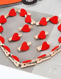 20の結婚式の装飾赤い桃の心臓クラフト木製クリップセット