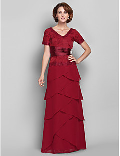 Lanting Sheath/Column Plus Sizes / Petite Mother of the Bride Dress - Burgundy Floor-length Short Sleeve Chiffon / Lace