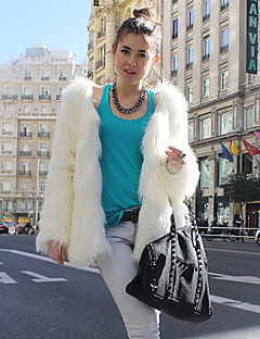 Long Sleeve Collarless Faux Fur Party/Casual Jacket(More Colors)