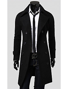 Langdeng Casual Fashion Double-Breasted Coat(Black)