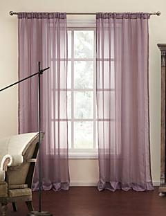 2パネル ウィンドウトリートメント 近代の , 縞柄 ポリエステル 材料 シアーカーテンシェード ホームデコレーション For 窓