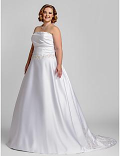 LAN TING BRIDE Linha A Vestido de casamento - Clássico e atemporal Glamouroso e Dramático Simplesmente Sublime Cauda Corte Tomara que Caia