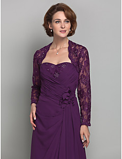 Women's Wrap Shrugs Long Sleeve Lace Grape Wedding / Party/Evening Scoop  Beading / Lace Open Front